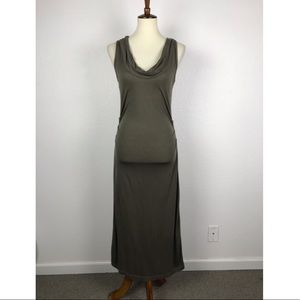 James Perse Sheer Side Ruched Midi Dress D502